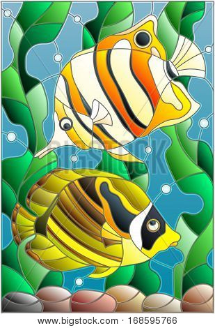 Illustration in stained glass style with a pair of fish butterfly on the background of water and algae