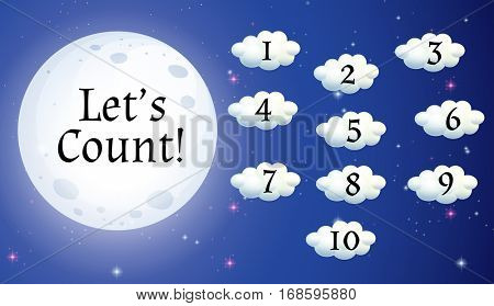 Counting numbers on clouds illustration