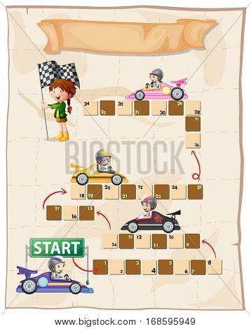 Boardgame template with racing cars illustration