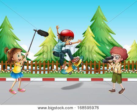Children shooting vdo with boy skateboarding illustration