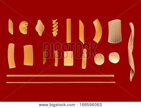 Traditional Italian Pasta, Dark Red Background