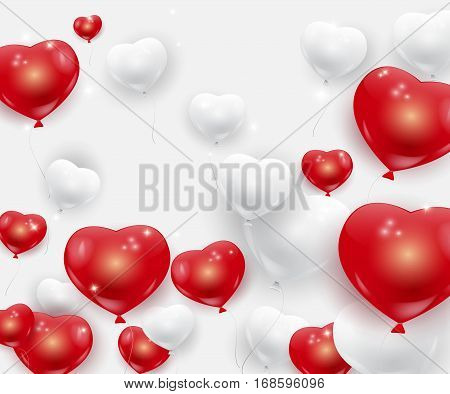 Beautiful white and red festive balloons in shape of heart, romantic vector background. Realistic vector helium baloons with sparkles, Valentines Day celebration.