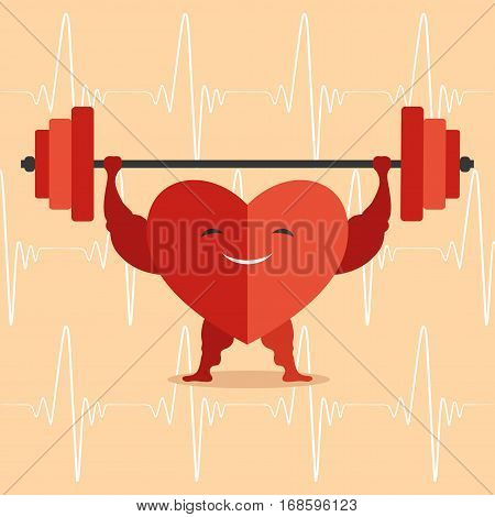Healthy red heart on a orange background.