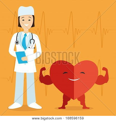 Doctor and a red heart on a orange background.