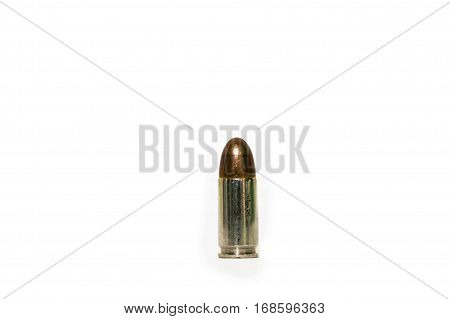 9 mm pistol bullet one shots on a white background.