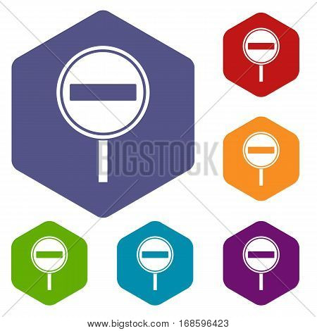 No entry sign icons set rhombus in different colors isolated on white background