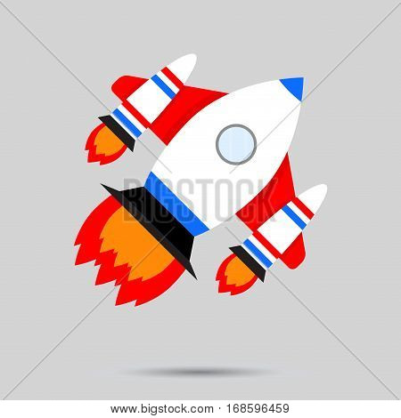 Space launch vector. Business startup rocket launch illustration