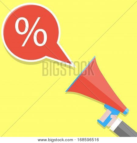 Announcement of percent discount. Shouts megaphone. Loudspeaker and message advertising. Vector illustration