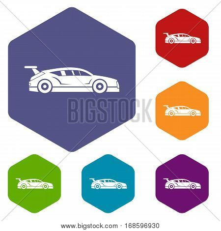 Rally racing car icons set rhombus in different colors isolated on white background