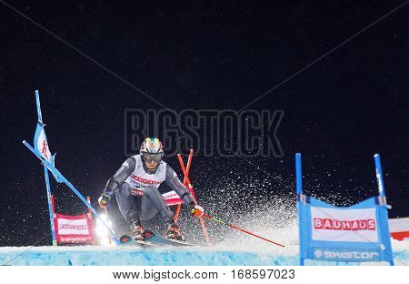STOCKHOLM SWEDEN - JAN 31 2017: Stefano Gross (ITA)prepare a jump in the downhill skiing in the parallel slalom alpine event Audi FIS Ski World Cup. January 31 2017 Stockholm Sweden