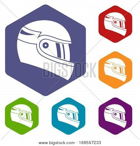 Racing helmet icons set rhombus in different colors isolated on white background