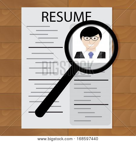 Resume and magnifying glass. Candidate to hr employee interview research with magnifying. Vector illustration