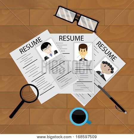 Hiring concept vector. Set of resume on wood table glass and coffee illustration
