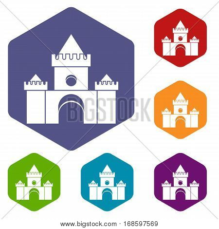 Fairytale castle icons set rhombus in different colors isolated on white background