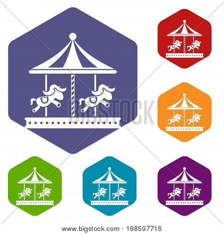 Merry go round horse ride icons set rhombus in different colors isolated on white background