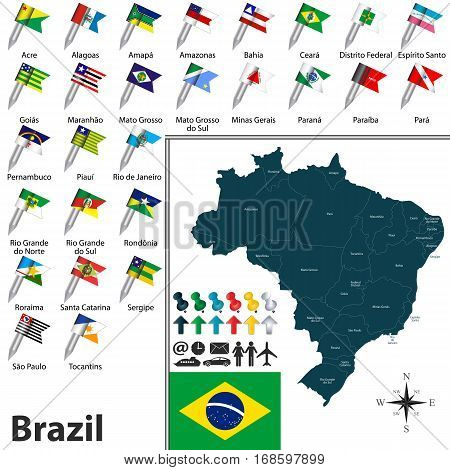 Map Of Brazil With Flags
