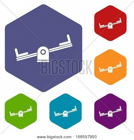Seesaw icons set rhombus in different colors isolated on white background