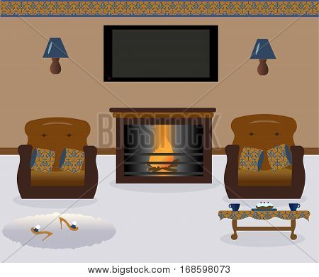 A living room with a coffee table.Lamps on the wall. Two armchairs witn colored decorative pillows. Сarpets. Sexy cute slippers with high heels. Flat screen TV. Fireplace. Vector illustration.