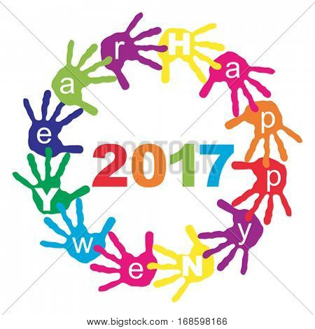 Vector concept or conceptual circle of colorful hand print or handprint text made by children for Happy New Year 2017 greeting isolated on white background for