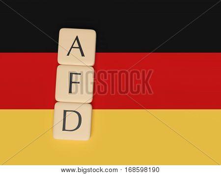 BERLIN GERMANY - FEBRUARY 3 2017: German Politics Concept: Letter Tiles AFD 3d illustration with German Flag