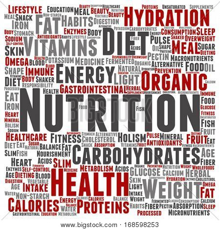 Vector concept or conceptual nutrition health or diet square word cloud isolated on background metaphor to carbohydrates, vitamins, fat, weight, energy, antioxidants beauty medicine, mineral, protein