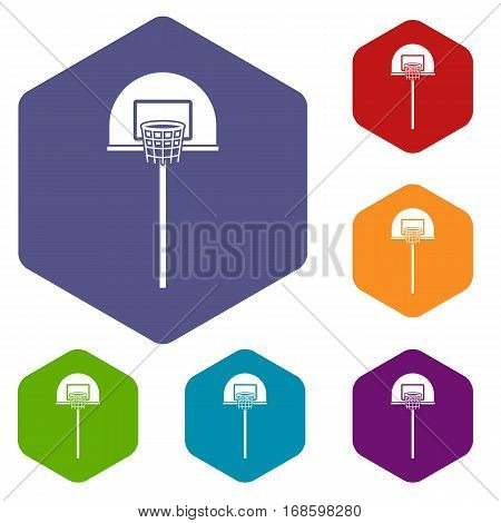 Street basketball hoop icons set rhombus in different colors isolated on white background