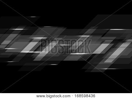 Black abstract tech geometric corporate background. Vector illustration eps10