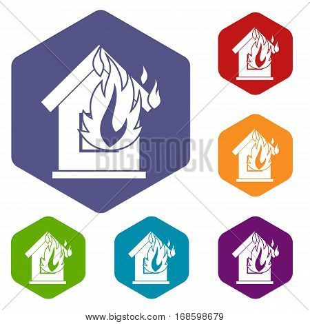 Preventing fire icons set rhombus in different colors isolated on white background