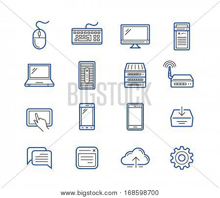 Network and mobile devices. Network connections concept. Outlined vector icons in linear style