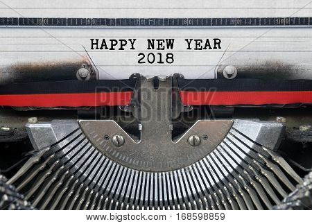 HAPPY NEW YEAR 2018 Typed Words On a Vintage Typewriter Conceptual