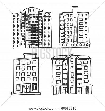 Set of vector hand drawn multistorey houses