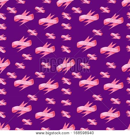 Seamless pattern of pink bows ribbon on lilac background. Could be used for paper or in design