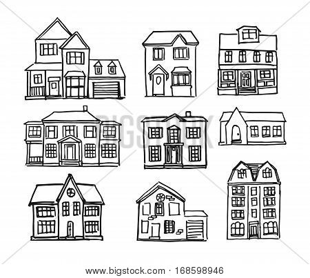 Set of vector hand drawn simple houses