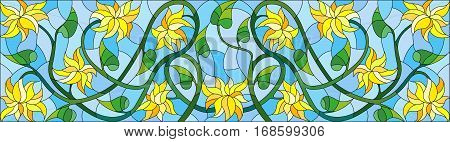 Illustration in stained glass style with abstract yellow flowers on a blue background horizontal orientation