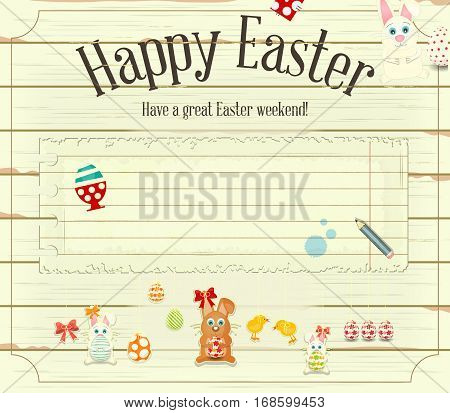 Happy Easter Greeting Card. Easter Bunny and Easter Eggs Blank Note with Place for Text on White Wooden Background. Vector Illustration.