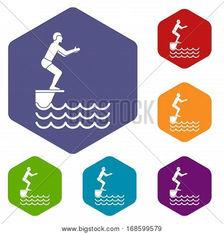 Man standing on springboard icons set rhombus in different colors isolated on white background