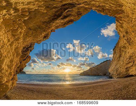 Porto Katsiki beach on Lefkada island in Greece at sunset