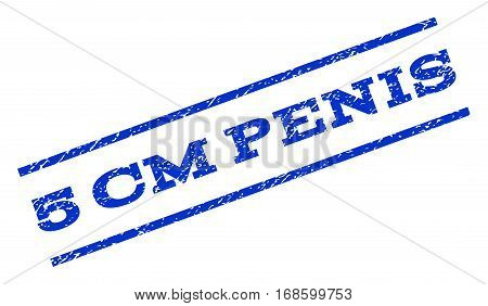 5 cm Penis watermark stamp. Text caption between parallel lines with grunge design style. Rotated rubber seal stamp with unclean texture. Vector blue ink imprint on a white background.