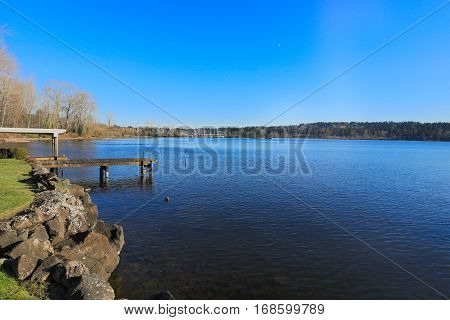 Private Dock With Covered Boat Lift, Lake Washington.