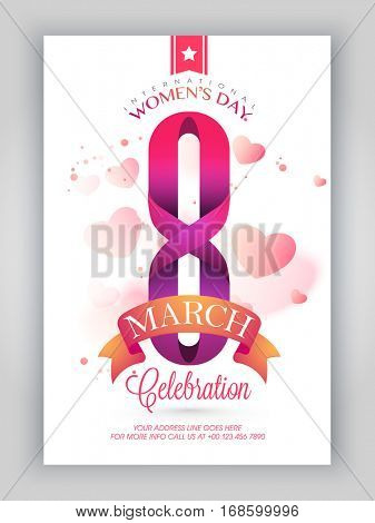 Creative text 8 March with ribbon on glossy hearts decorated background, Can be used as Template, Banner or Flyer design for International Women's Day celebration.