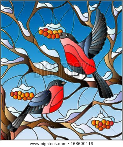 Illustration in stained glass style with a pair of bullfinches on the background of snow-covered mountain ash tree