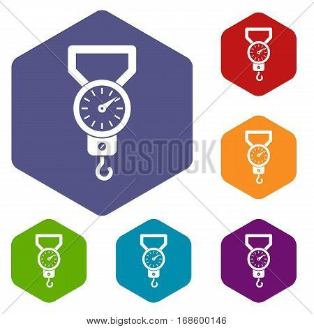 Spring scale icons set rhombus in different colors isolated on white background