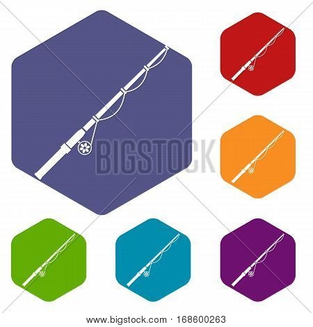 Rod and reel icons set rhombus in different colors isolated on white background