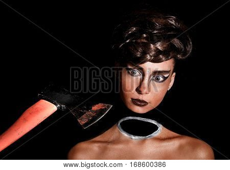 Beautiful Young Woman With A Neckless Makeup