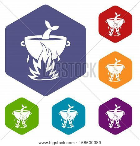 Fish soup on a fire icons set rhombus in different colors isolated on white background