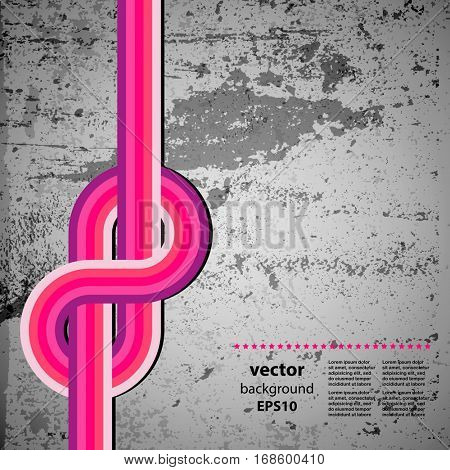 Abstract design70s lines and retro grunge background, vector.