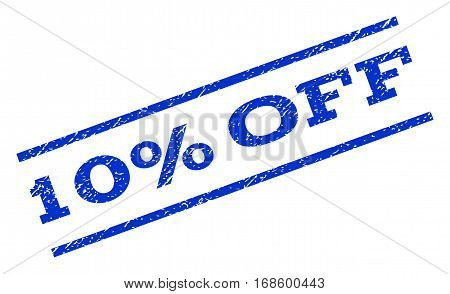 10 Percent Off watermark stamp. Text tag between parallel lines with grunge design style. Rotated rubber seal stamp with unclean texture. Vector blue ink imprint on a white background.