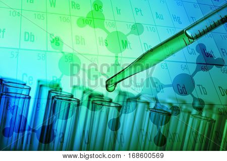 Health care concept. Pipette with fluid and test tubes, color tone