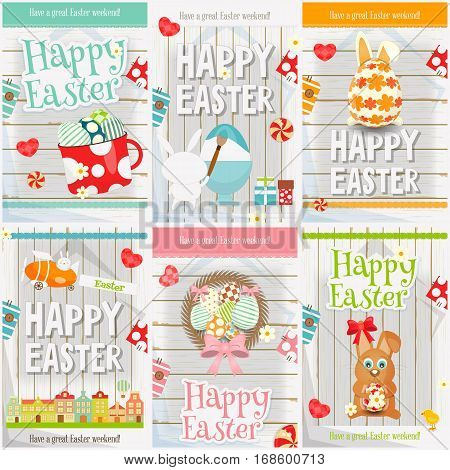 Easter Cards Set. Mini Posters Collection - Eggs Rabbit on White Wooden Background. Vector Illustration.