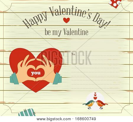 Valentines Day Card. Heart on White Wooden Background. Place for Text. Vector Illustration.